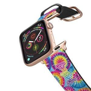 Rose Gold Leather Tie-Dye Apple Watch Strap